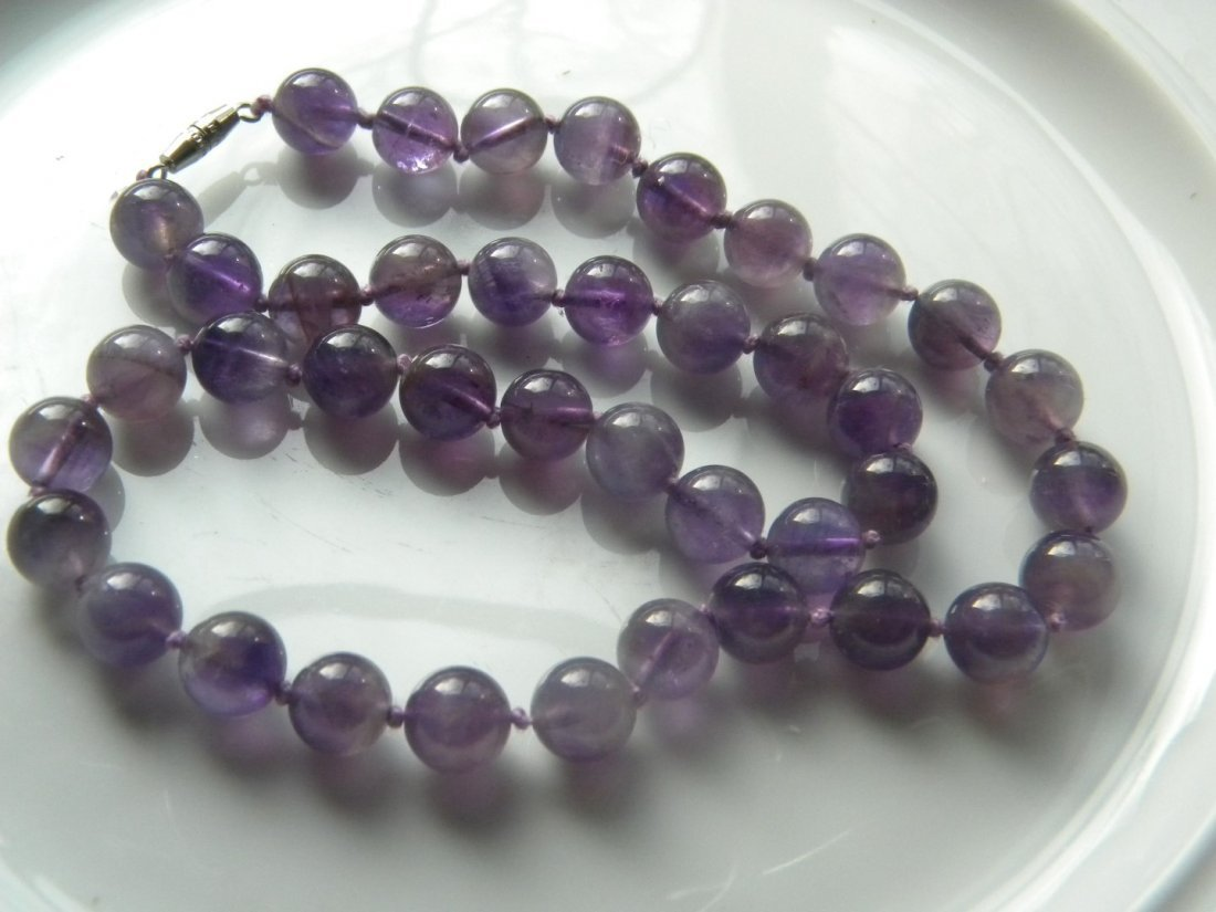 Vintage Natural Amethyst Round Bead Necklace - 3