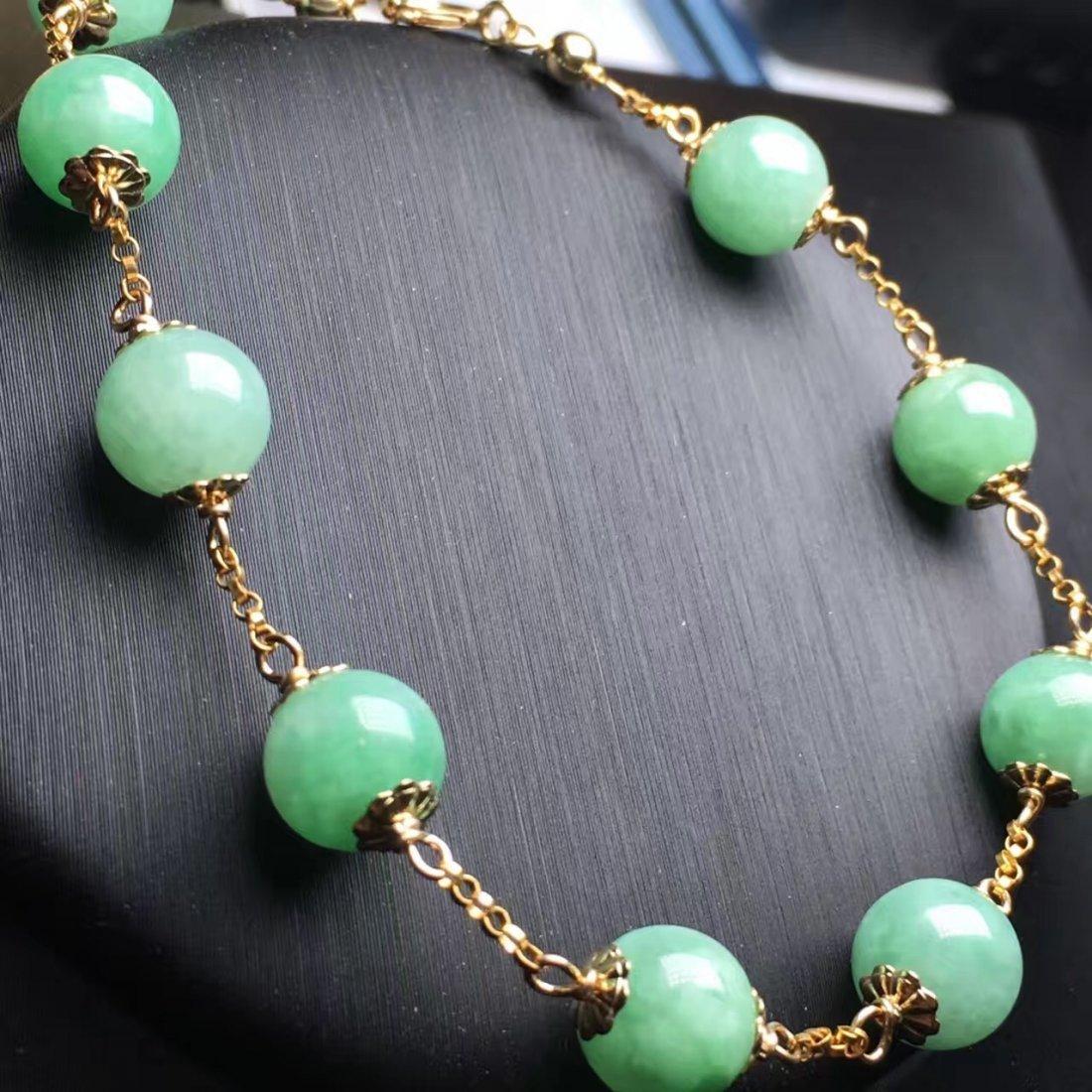 14K Gold Natural Jadeite Bracelet