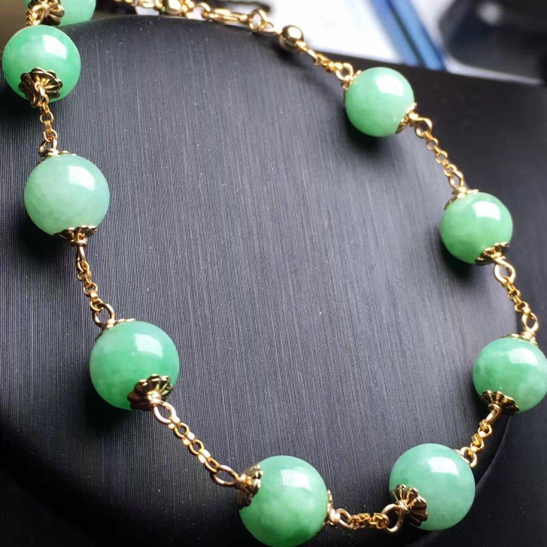 14K Gold Natural Jadeite Bracelet - 2