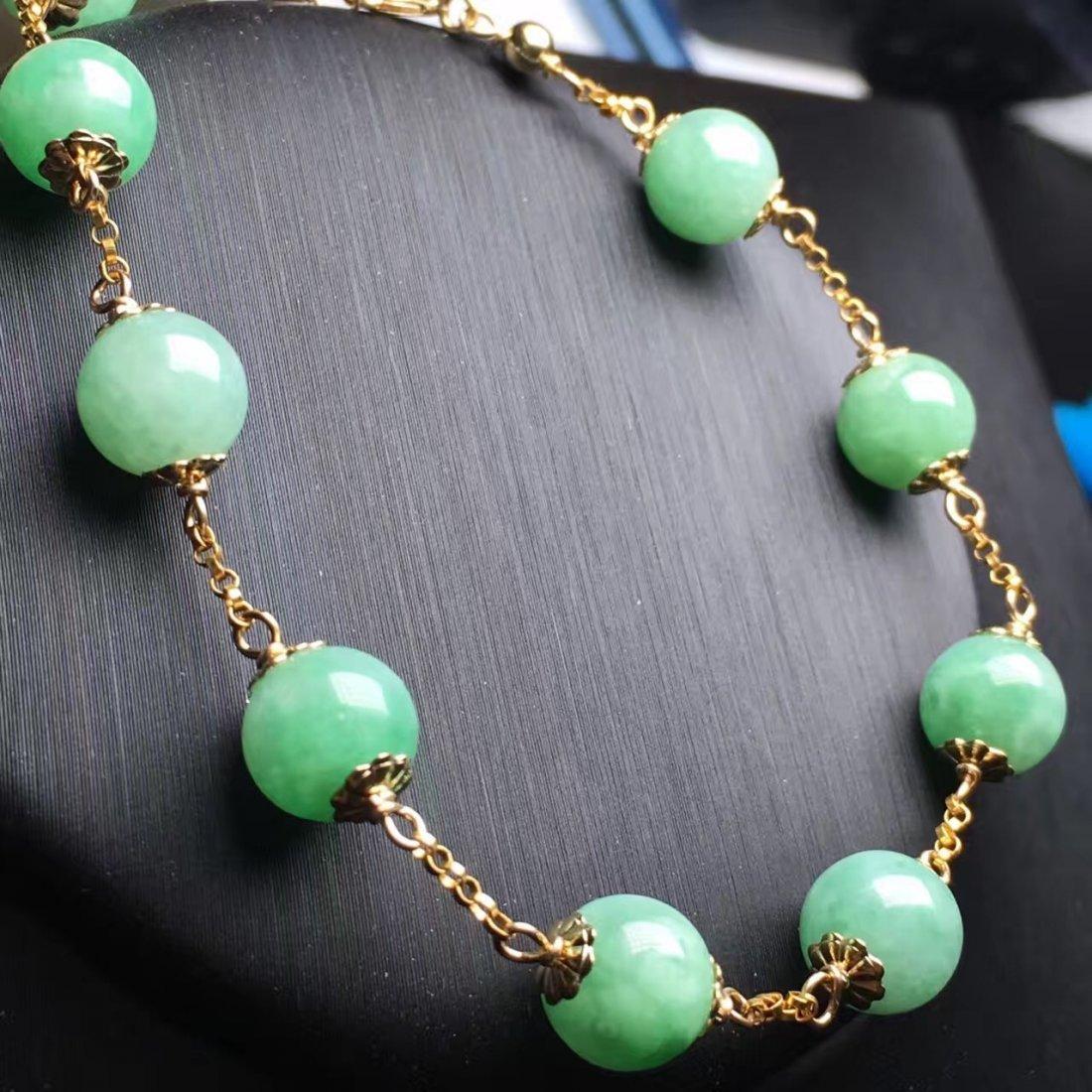 14K Gold Natural Jadeite Bracelet - 3