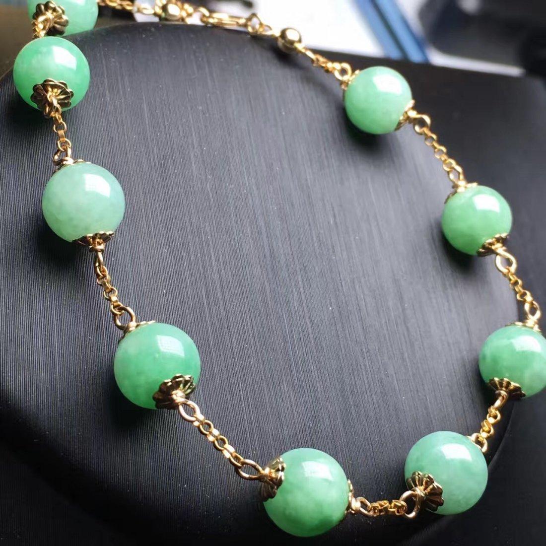 14K Gold Natural Jadeite Bracelet - 4