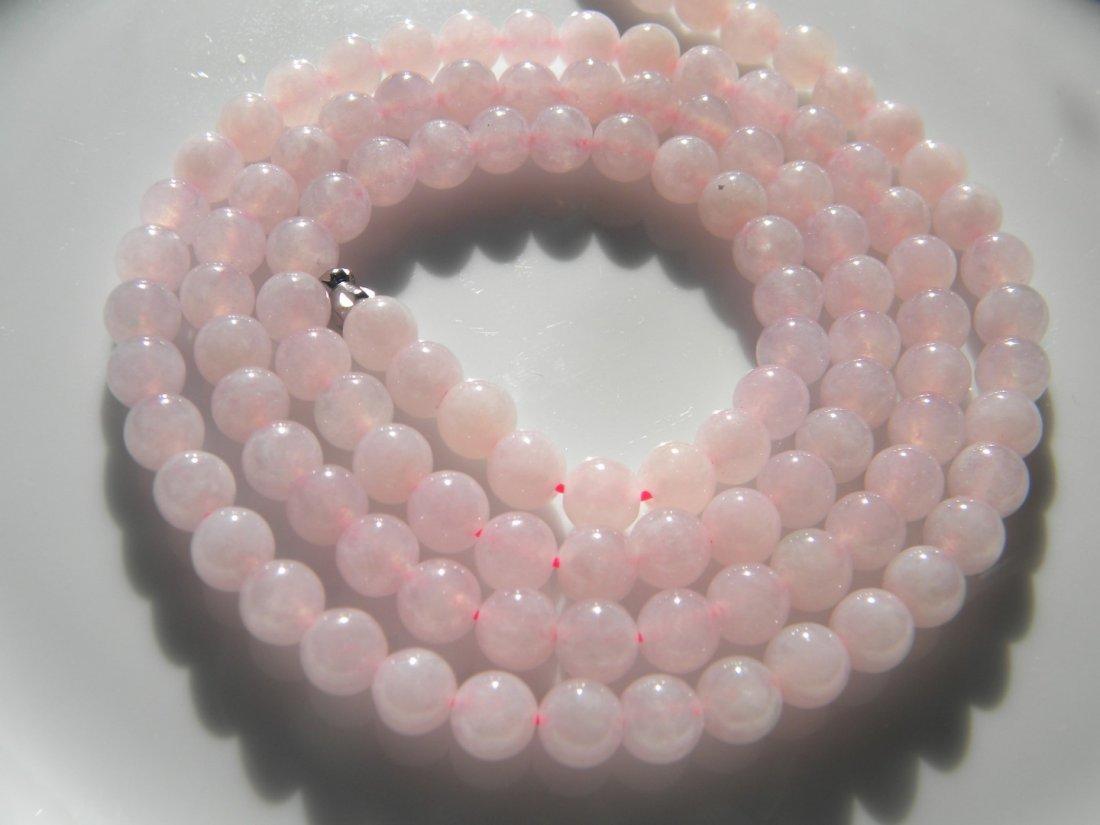Natural Pink Jadeite Bead Necklace