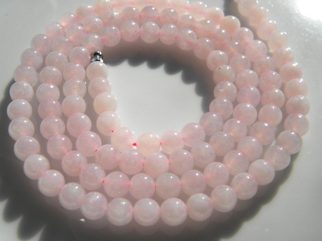 Natural Pink Jadeite Bead Necklace - 3