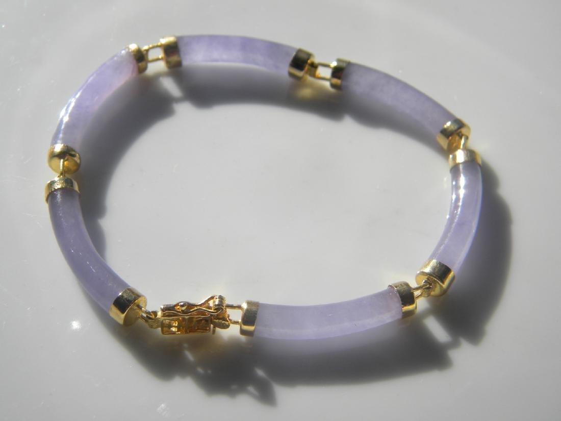 Vintage Chinese Natural Purple Jadeite Bracelet