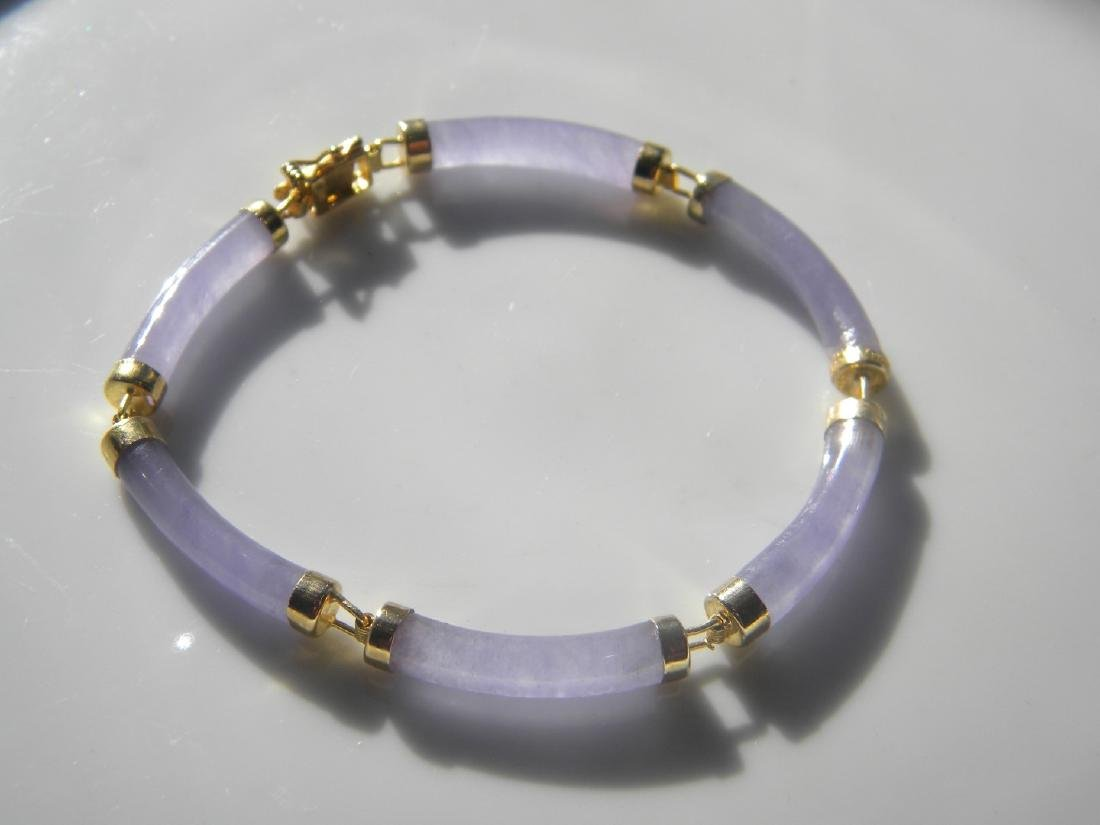 Vintage Chinese Natural Purple Jadeite Bracelet - 2