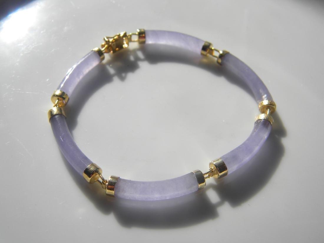 Vintage Chinese Natural Purple Jadeite Bracelet - 3