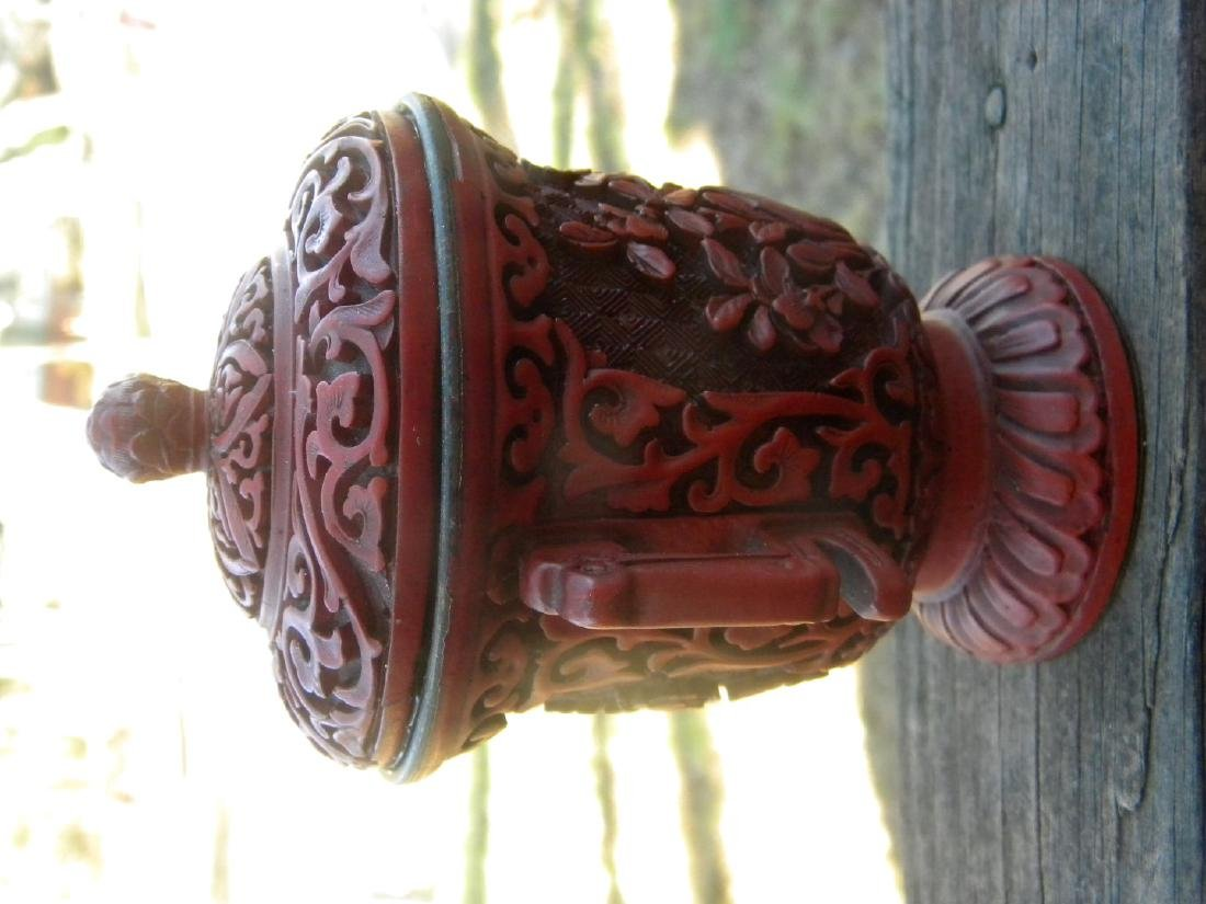 Antique Chinese Laquer Cup with Cover - 4