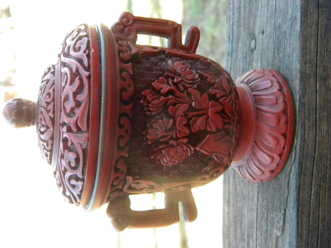 Antique Chinese Laquer Cup with Cover - 8