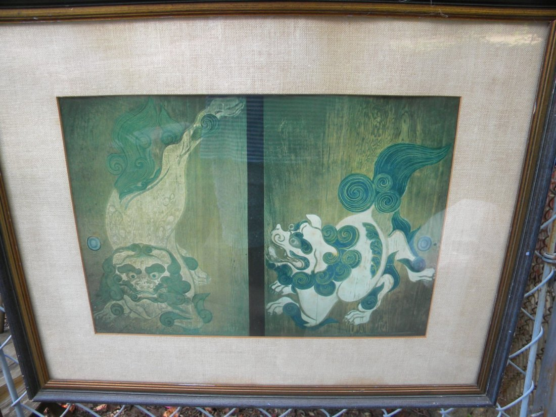 Antique Lion Painting Framed