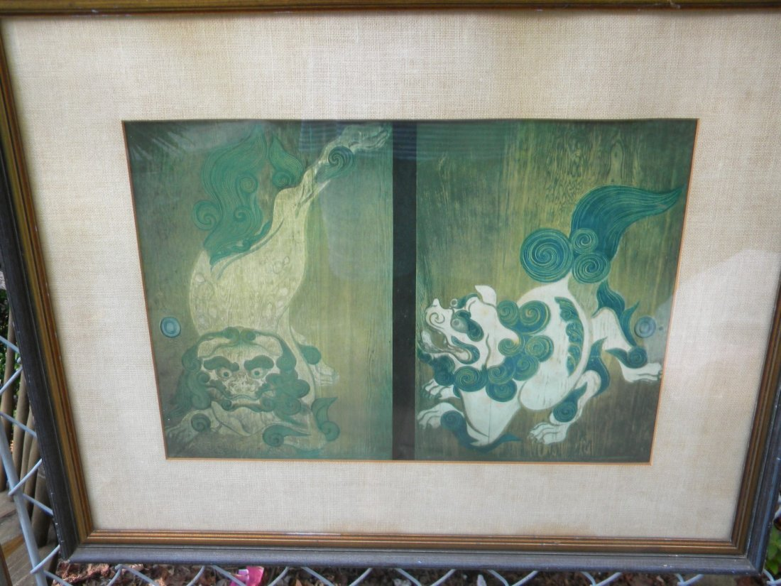 Antique Lion Painting Framed - 3