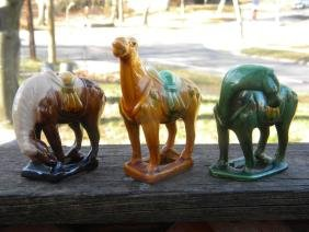 Three Chinese Porcelain Horses