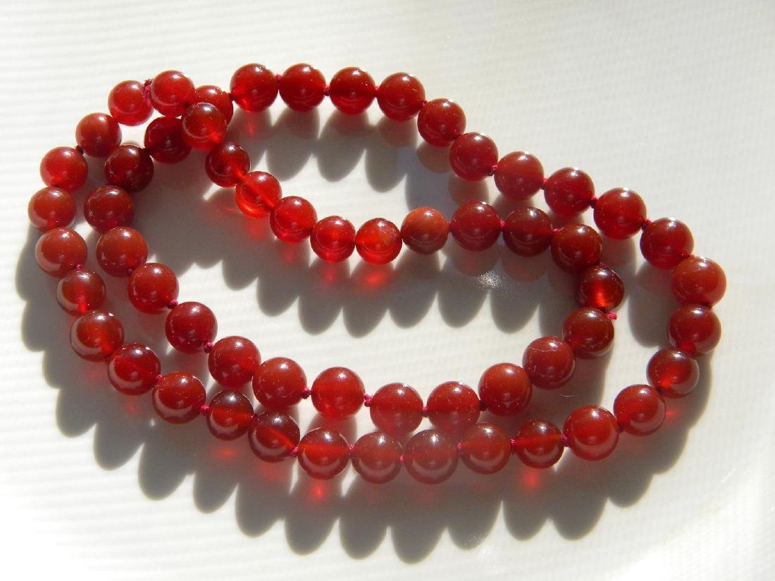 Antique Chinese Red Carnelian Bead Necklace