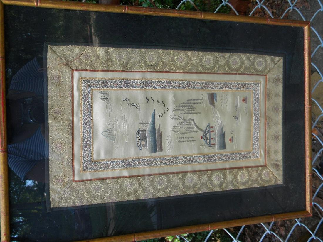Antique Chinese Embroidery Framed - 4