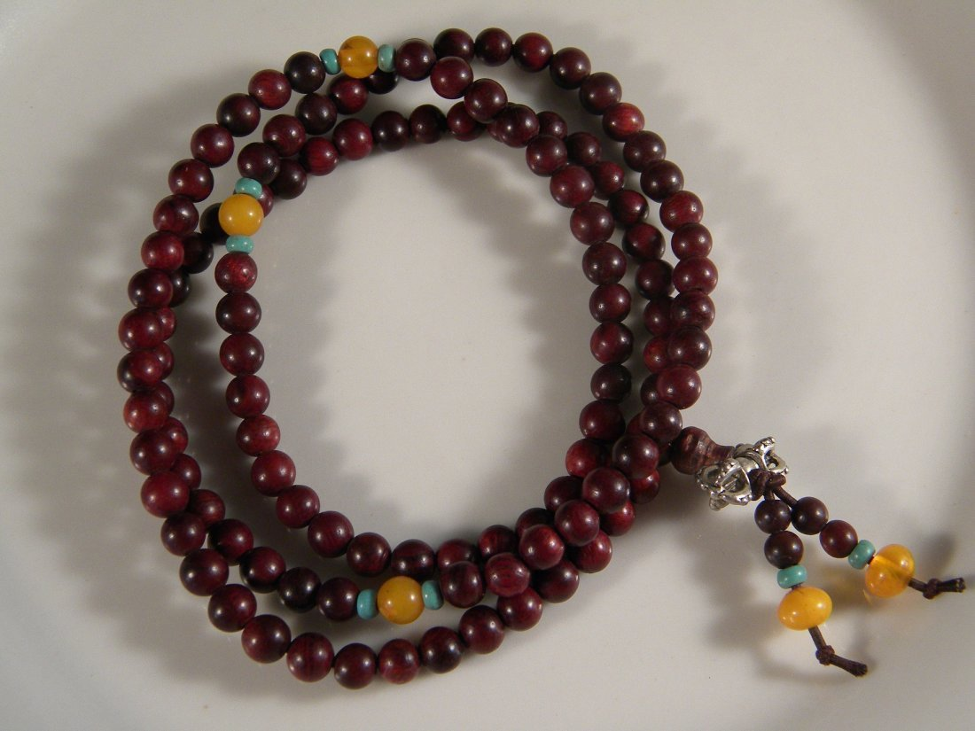 VINTAGE CHINESE 108 BUDDHIST PRAYER ROSEWOOD RED BEADS