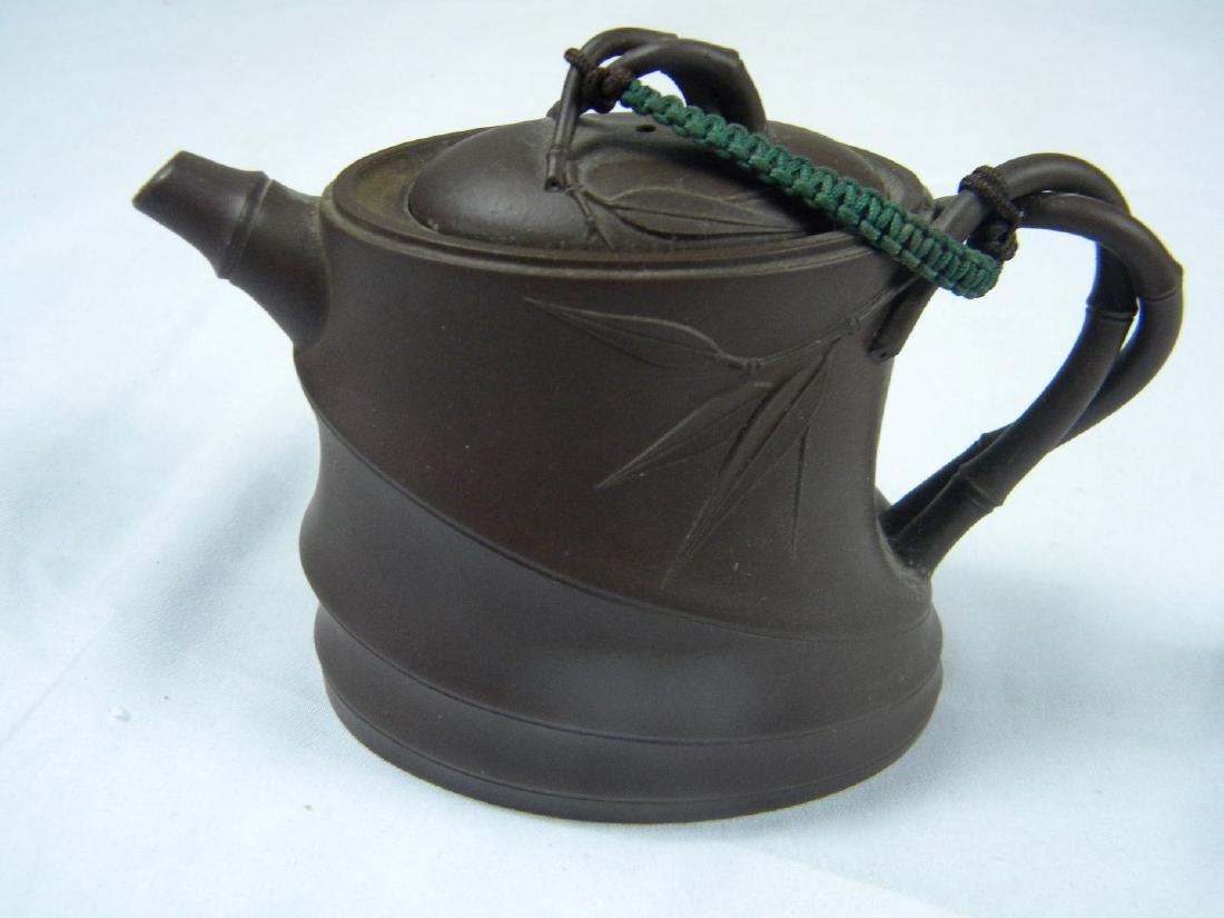 Antique Chinese Yixing Zisha Bamboo Teapot