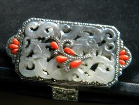 Antique Leather Purse with Nephrite Jade