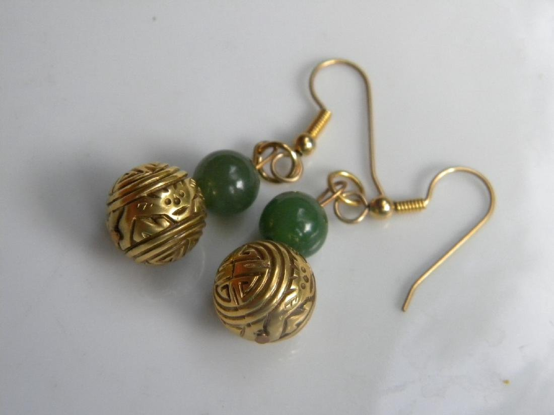 Pair of Antique Chinese Green Jade Earrings