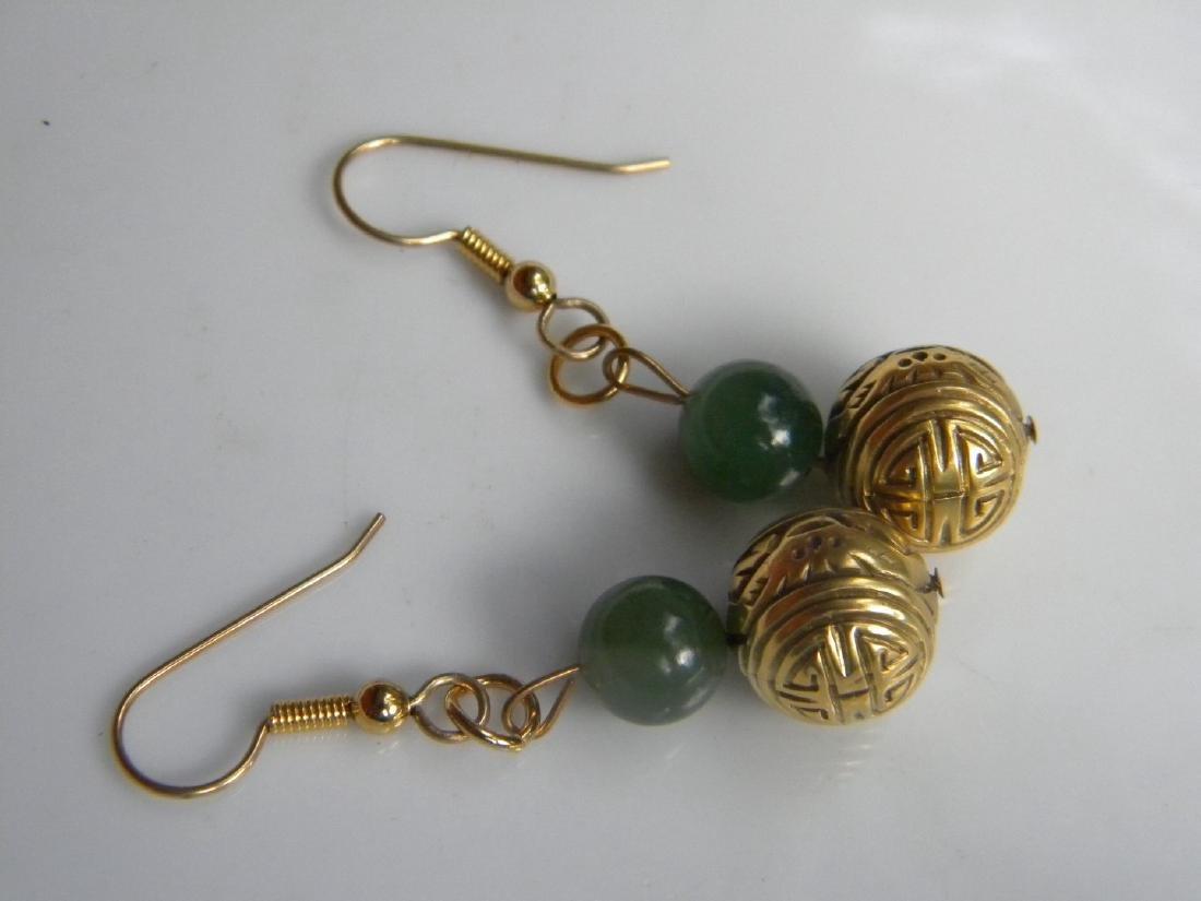 Pair of Antique Chinese Green Jade Earrings - 2