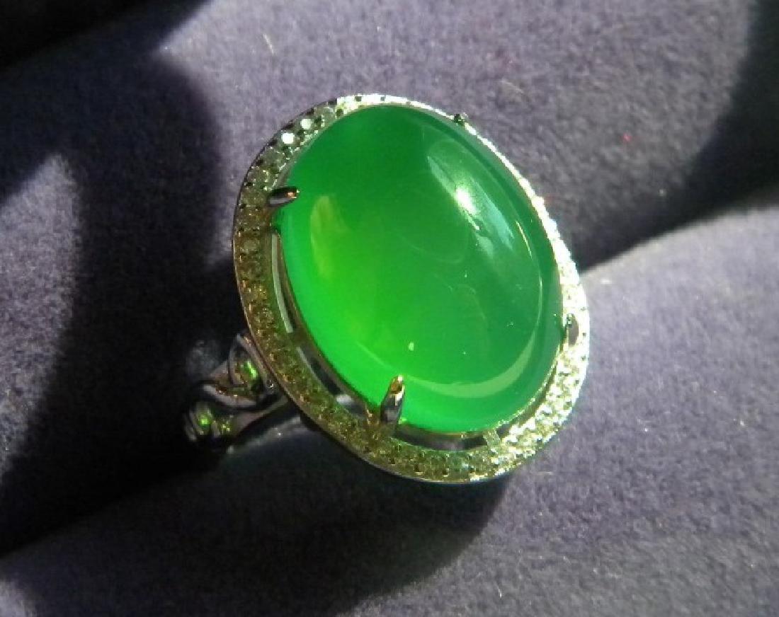 Huge Natural Green Stone Silver Ring