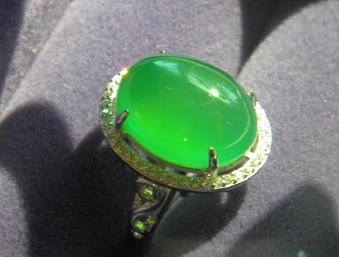 Huge Natural Green Stone Silver Ring - 2