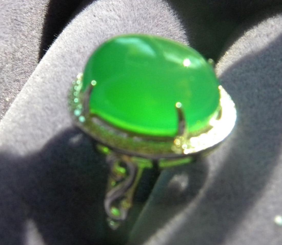 Huge Natural Green Stone Silver Ring - 3