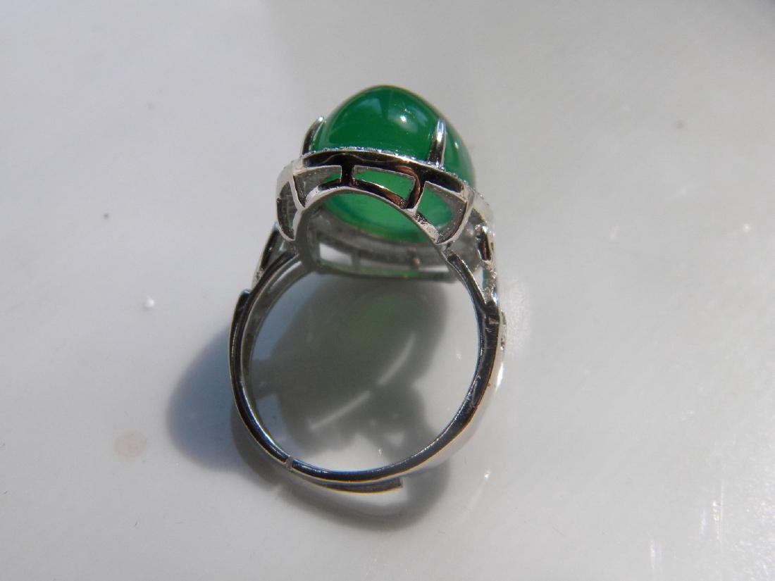 Huge Natural Green Stone Silver Ring - 4