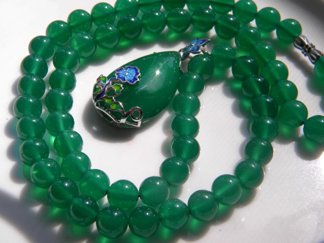 Natural Green Stone Necklace with Silver Pendant - 2