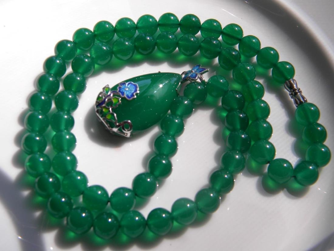 Natural Green Stone Necklace with Silver Pendant - 3