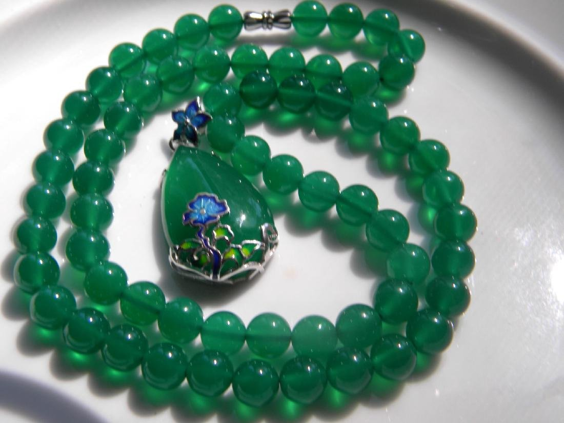 Natural Green Stone Necklace with Silver Pendant - 4