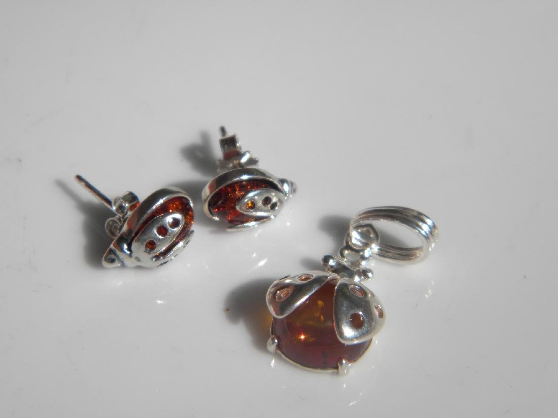 Set of Silver Amber Earrings and Pendant - 2