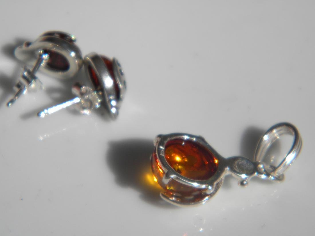 Set of Silver Amber Earrings and Pendant - 3
