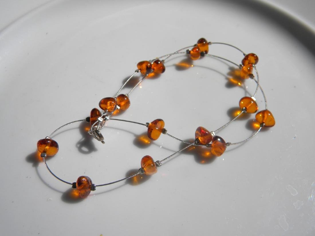 Natural Baltic Amber Necklace Silver Chain - 3