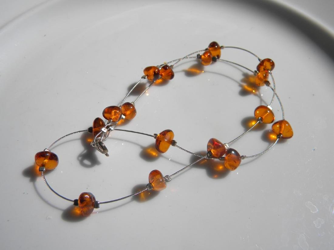 Natural Baltic Amber Necklace Silver Chain - 4