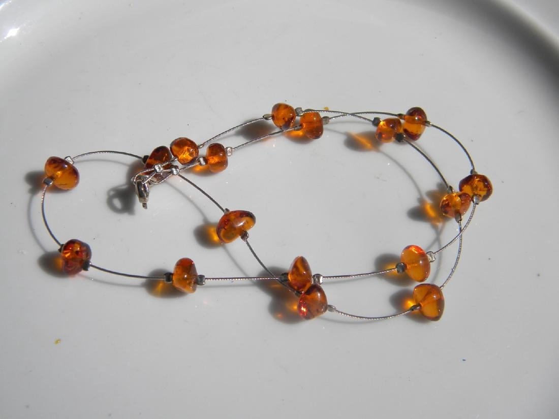 Natural Baltic Amber Necklace Silver Chain - 5