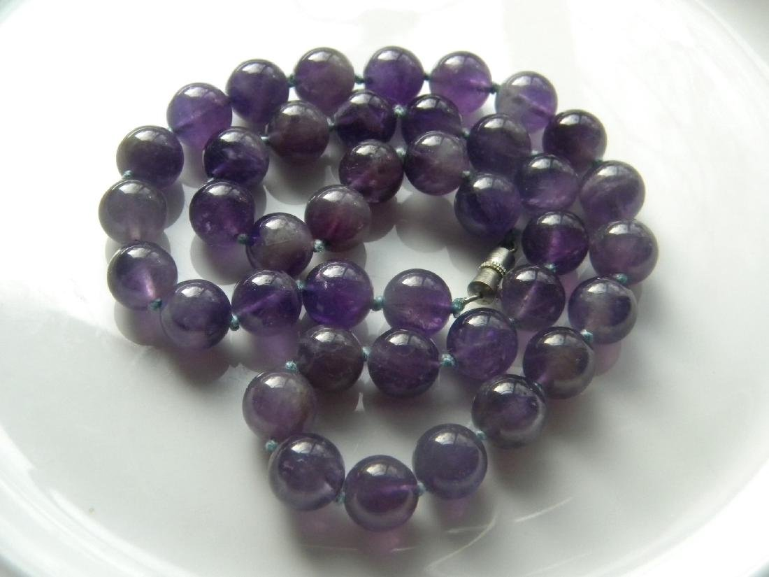 Vintage Natural Amethyst Round Bead Necklace - 2