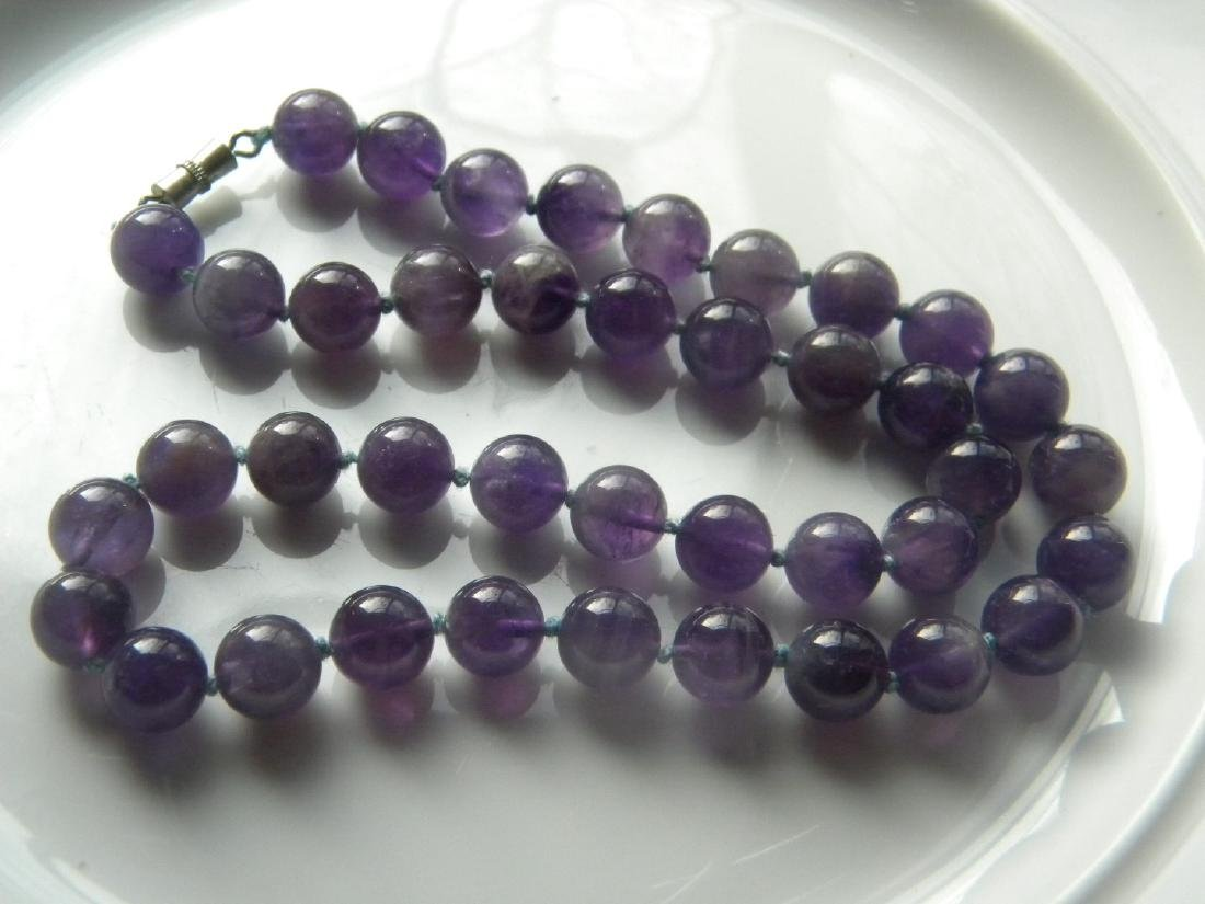 Vintage Natural Amethyst Round Bead Necklace - 4