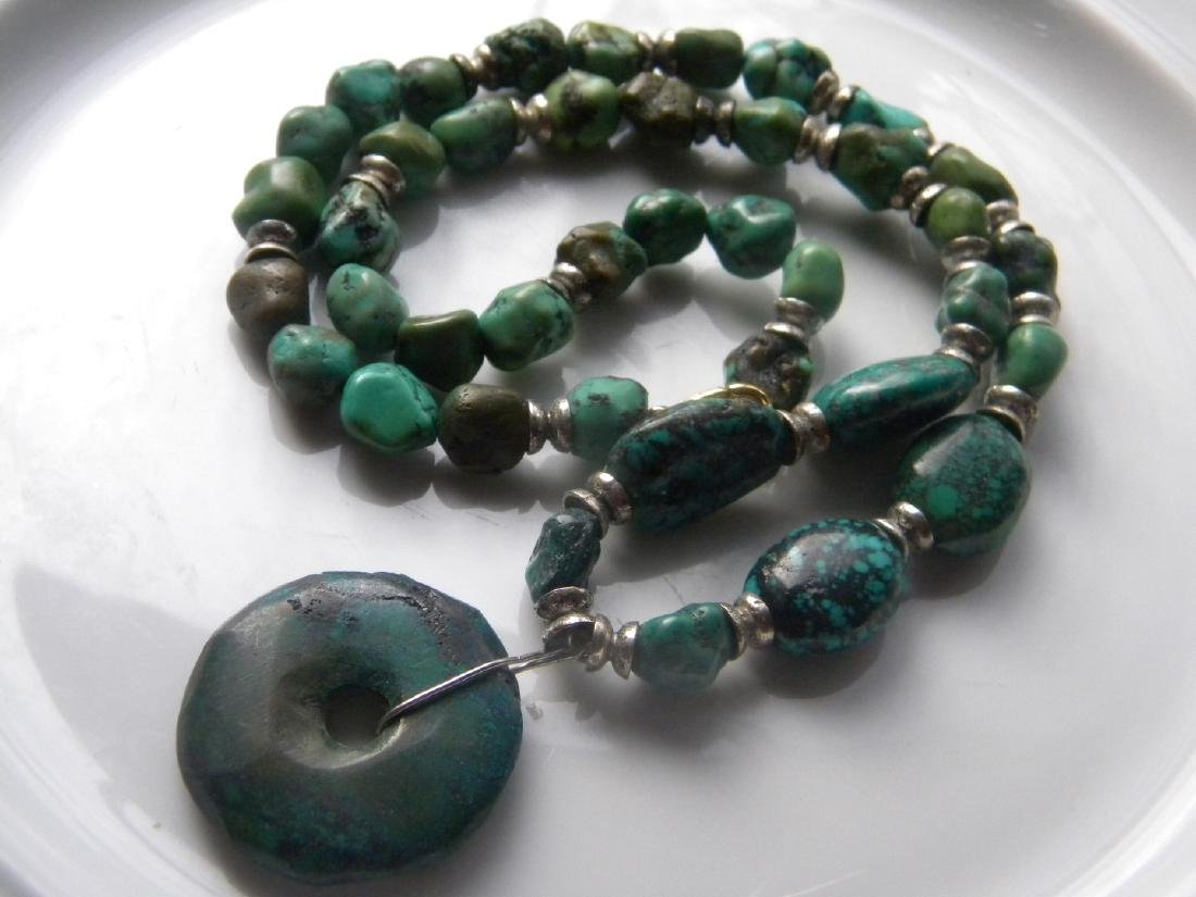 Antique Natural Turquoise Bead Necklace with Pendant