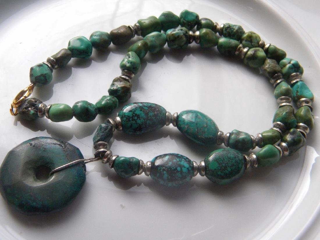 Antique Natural Turquoise Bead Necklace with Pendant - 2