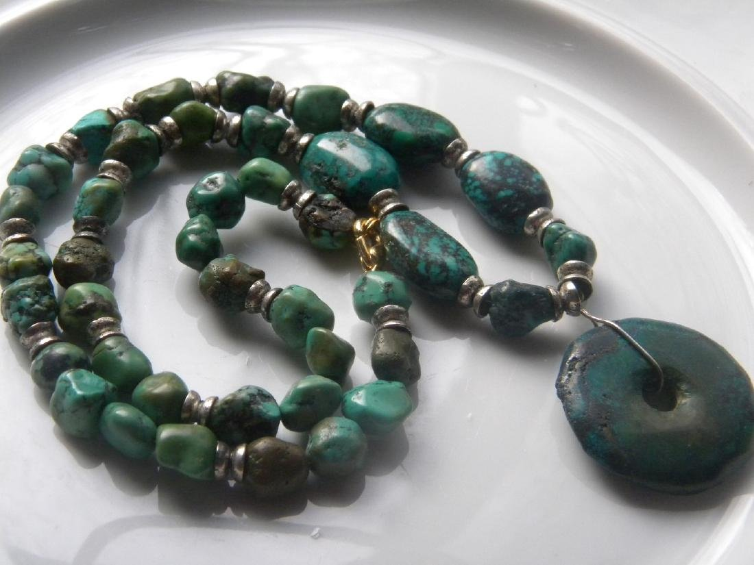 Antique Natural Turquoise Bead Necklace with Pendant - 4