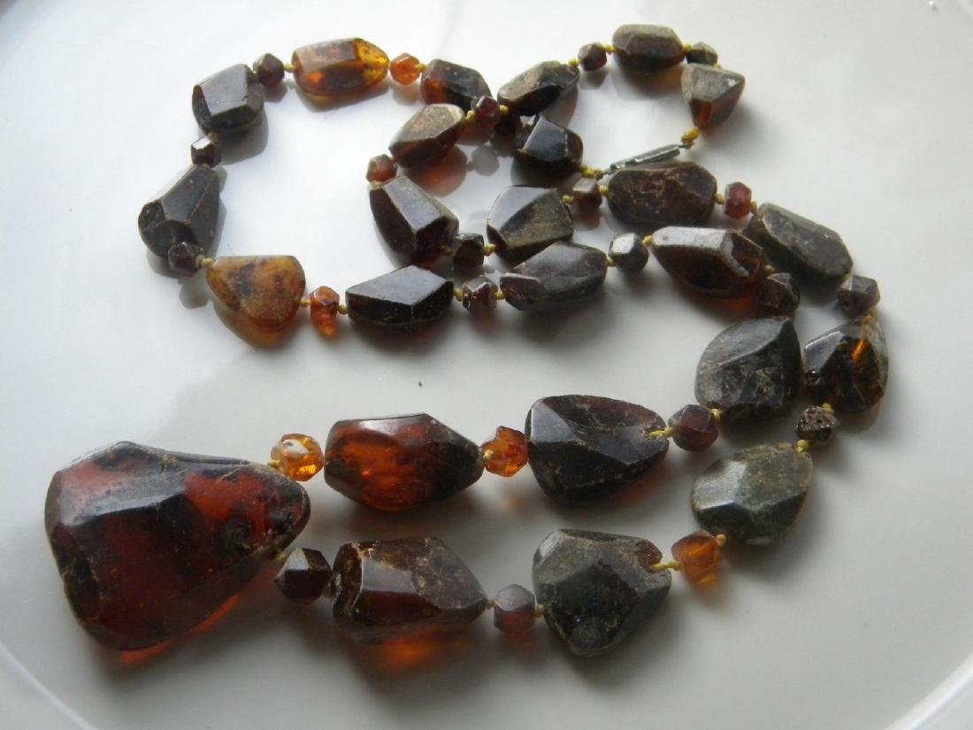 Antique Baltic Amber Necklace with Pendant - 6