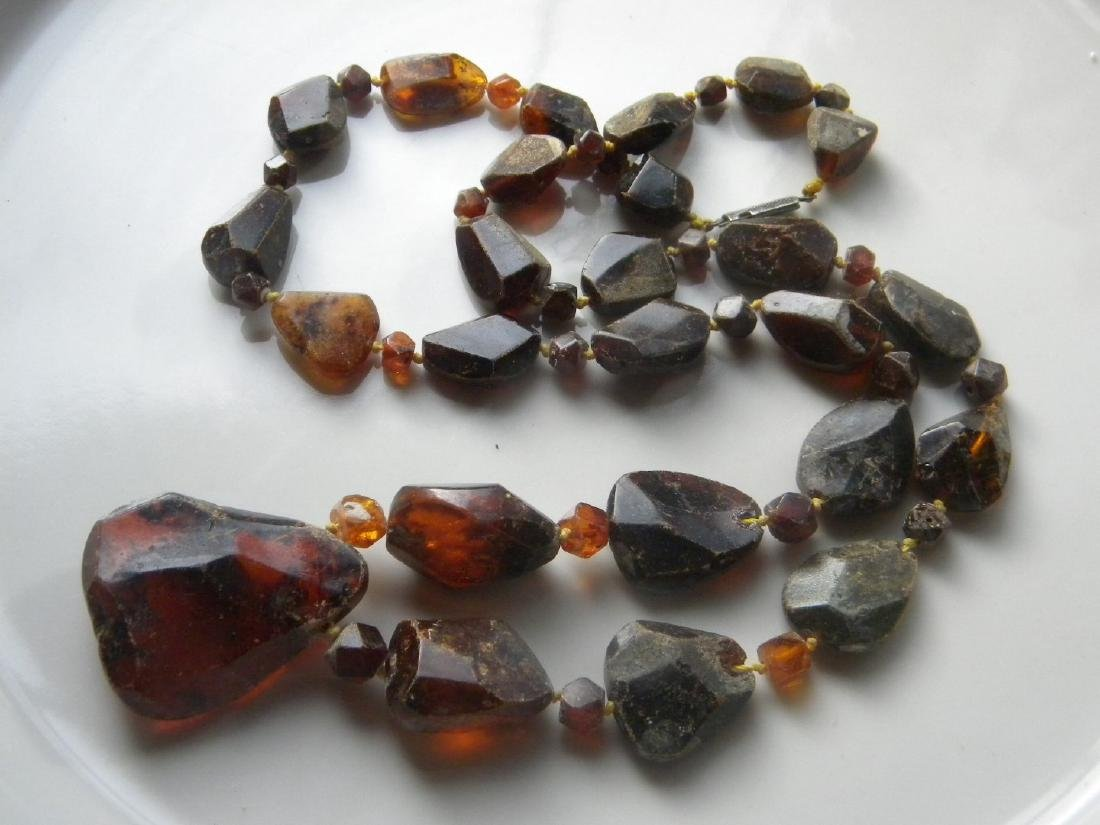 Antique Baltic Amber Necklace with Pendant - 7