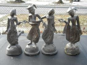 Four Antique Bronze Dancing Statues
