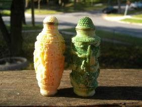 Two Chinese Antique Carved Snuff Bottle Marked Qianlong