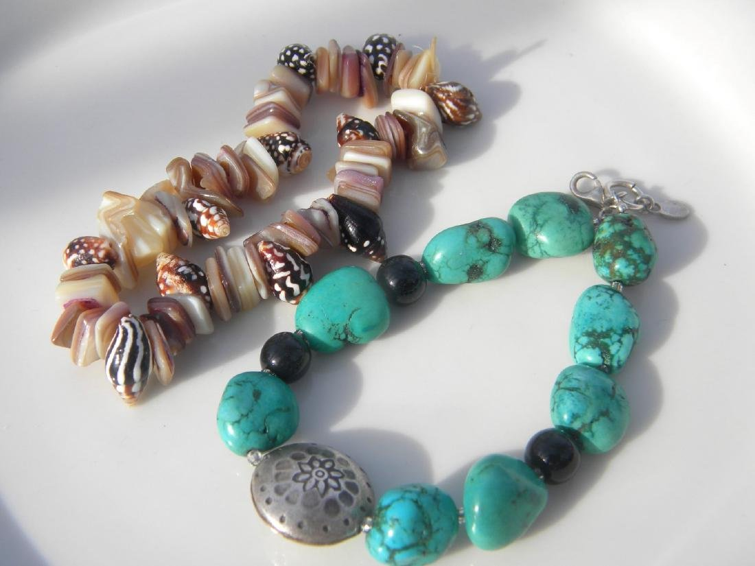 Two Turquoise Bracelet with Sterling Bead and Shell