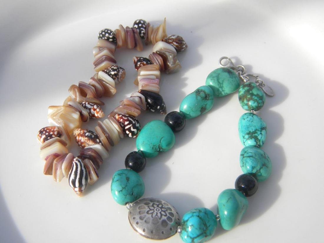Two Turquoise Bracelet with Sterling Bead and Shell - 2