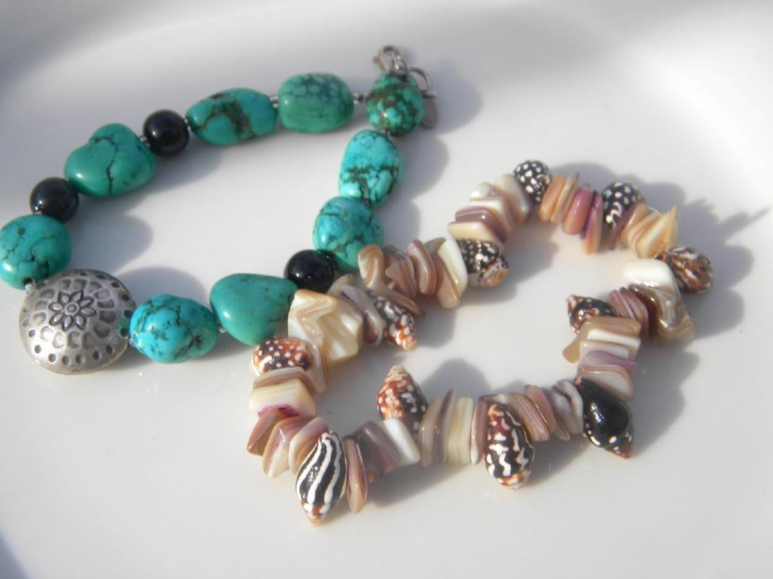 Two Turquoise Bracelet with Sterling Bead and Shell - 3