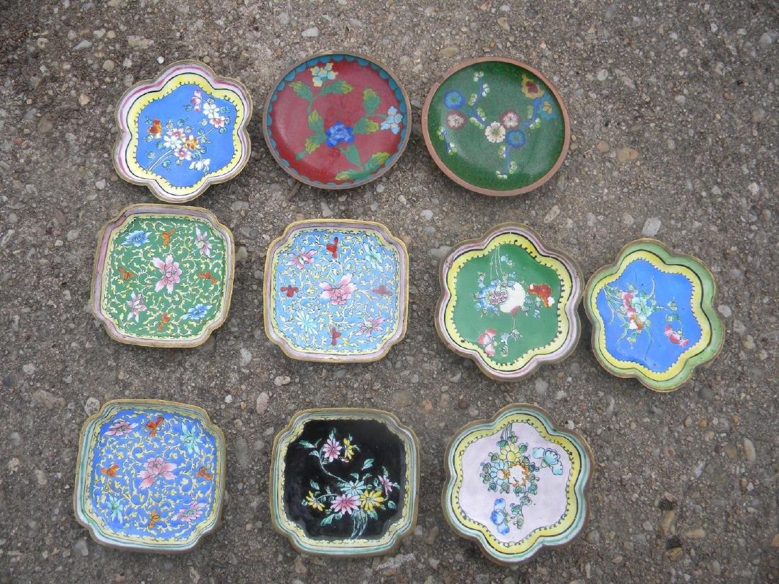 Ten Antique Cloisonne and Enamel Dishes - 2