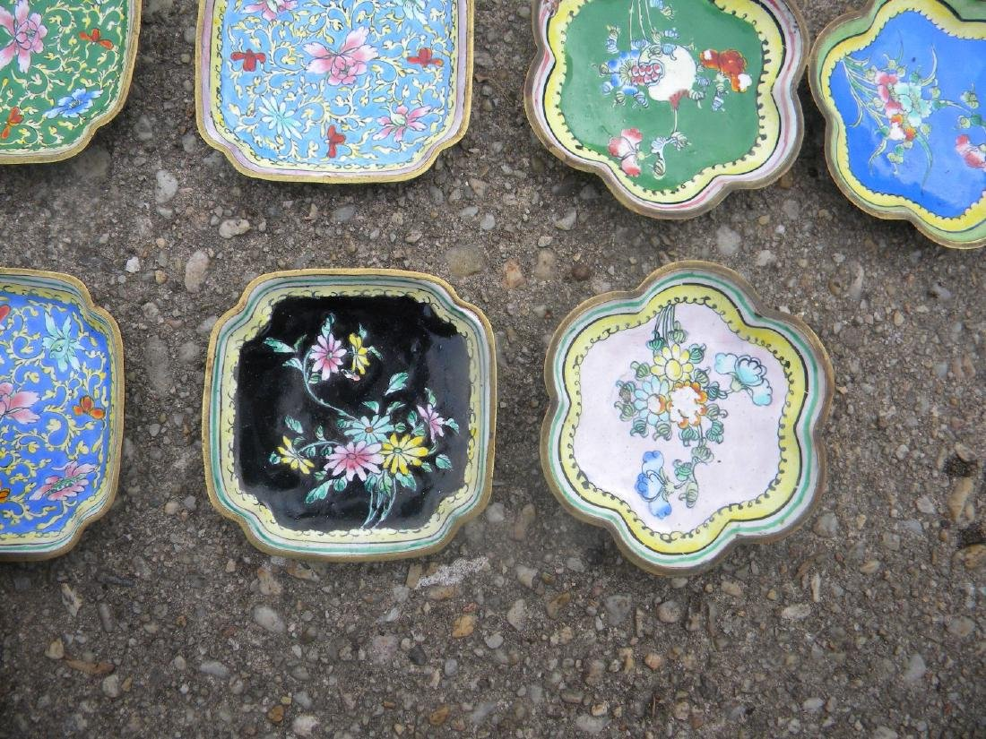 Ten Antique Cloisonne and Enamel Dishes - 4