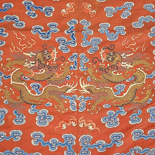 Embroidered Silk Textile Fragments, Late Qing