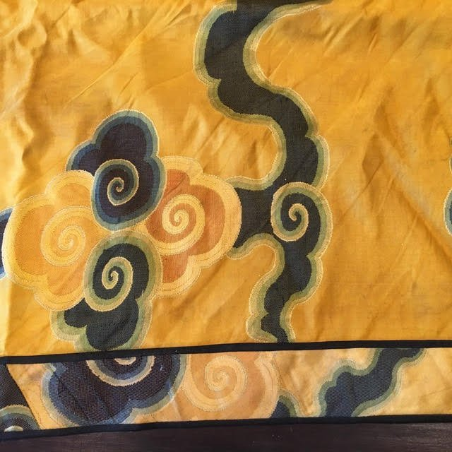 Antique chinese silk panel with lucky cloud pattern - 4